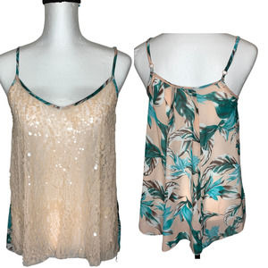 Love Squared Tropical Sequined Cami Top M